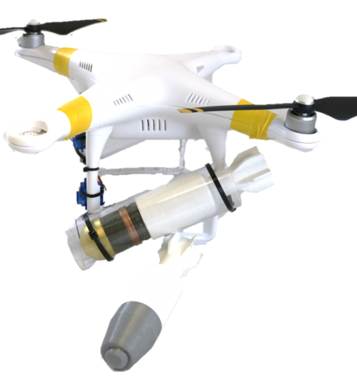 crashed drone with inert dropped aerial munitions